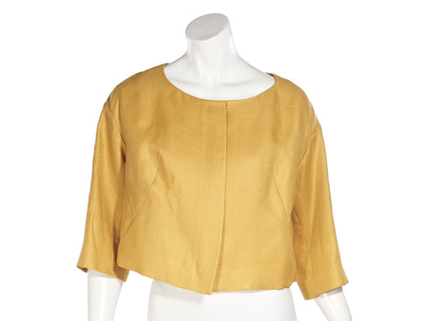 Yellow Chloe Linen Cropped Jacket
