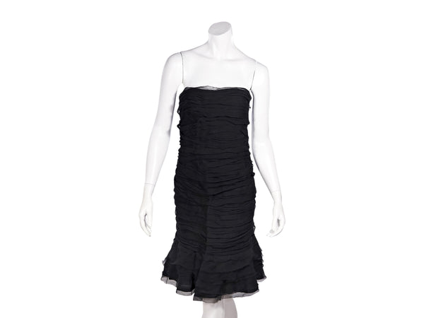 Black Oscar de la Renta 2009 Silk Strapless Dress