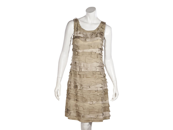 Tan Fendi SS09 Silk Tiered Shift Dress