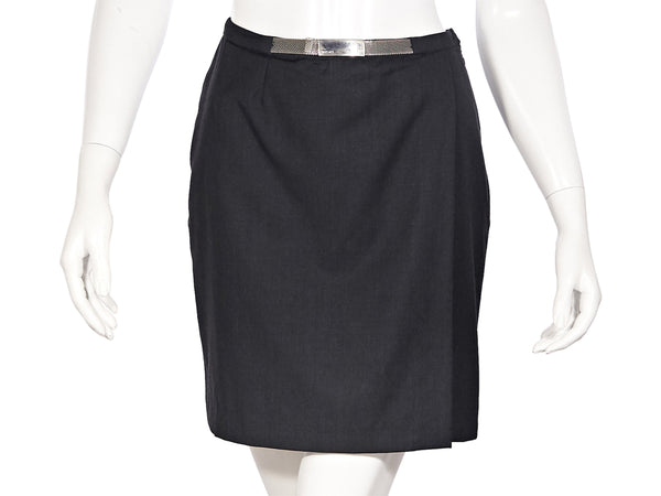 Black Vintage Gianni Versace Couture Wool Mini Skirt
