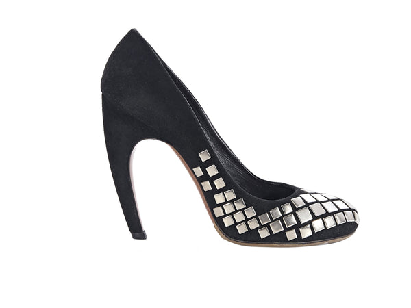 Black Alaia Suede Embellished Pumps
