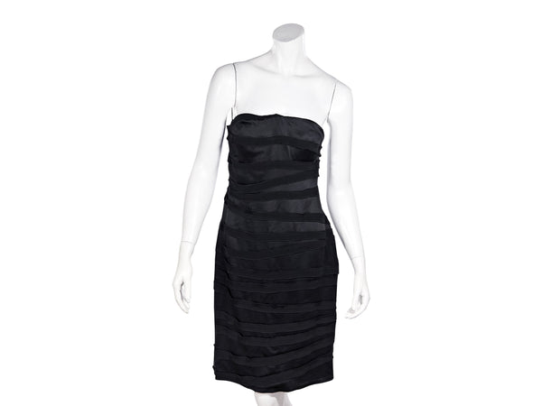 Black Oscar de la Renta Silk Satin Strapless Dress