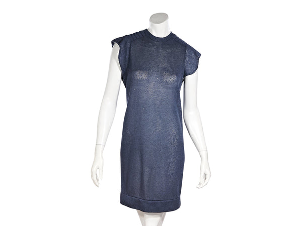 Blue Brunello Cucinelli Short-Sleeve Sweater Dress