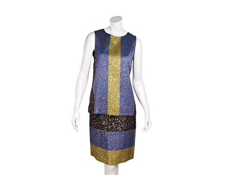Multicolor Derek Lam Metallic Brocade Top and Skirt Set