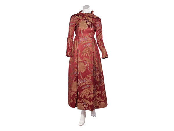 Red & Gold Vintage Mollie Parnis Custom Brocade Silk Gown