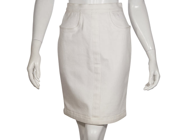 White Chanel Denim Cotton Skirt