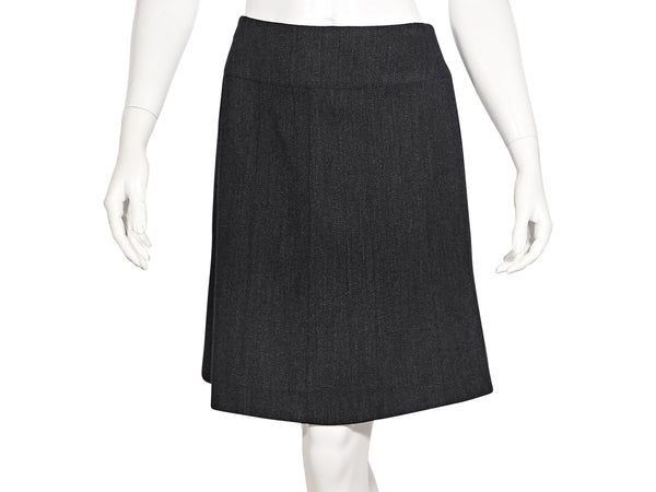 Dark Grey Chanel Wool Pencil Skirt