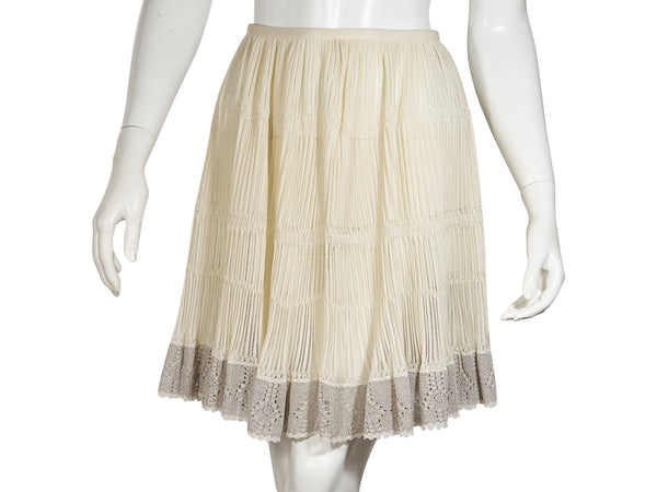 Ivory Alaia Crochet Silk-Blend Skirt