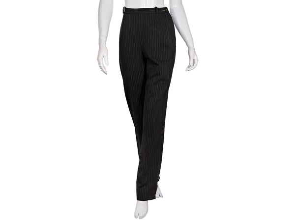 Brown & White Vintage Chanel Pinstriped Wool Pants