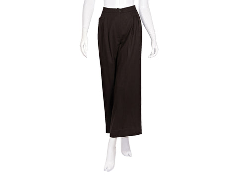 Brown Vintage Chanel High-Waisted Wool Pants