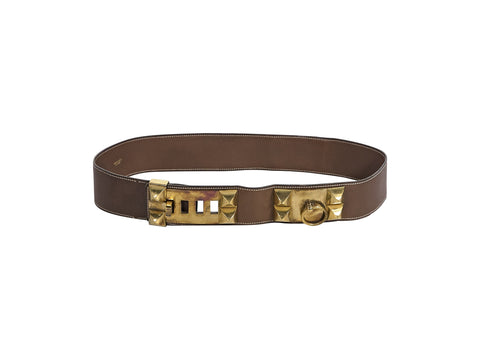 Brown Vintage Hermes Collier de Chien Leather Belt