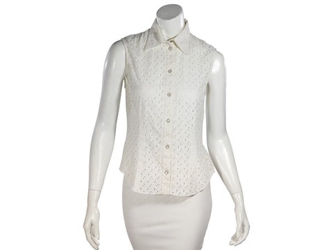 White Christian Dior Eyelet Cotton Blouse