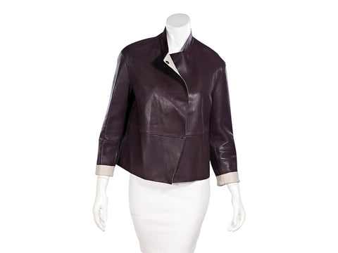 Maroon & Light Pink Brunello Cucinelli Leather Jacket
