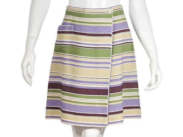 Multicolor Chanel Striped Wrap Skirt