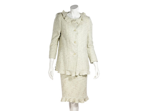 Light Green Chanel Tweed Skirt Suit Set