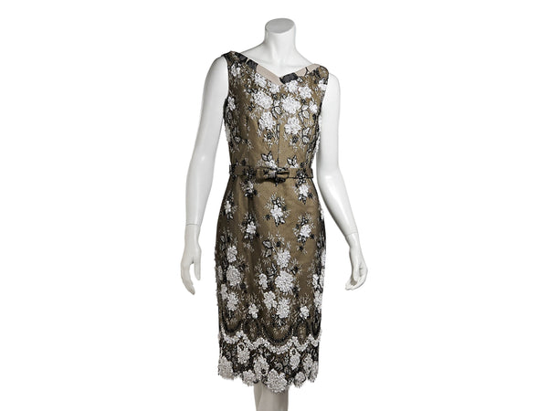 Multicolor Tuleh Sleeveless Applique Sheath Dress