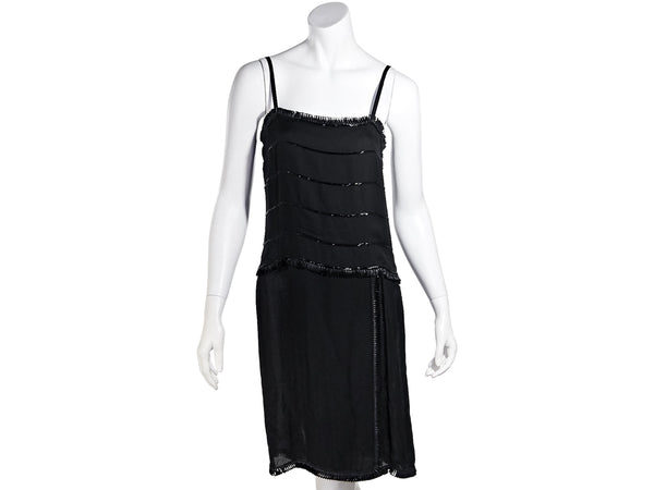 Black Chanel Sequin Shift Tank Dress