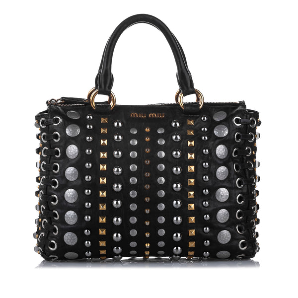 Black Miu Miu Studded Leather Satchel Bag