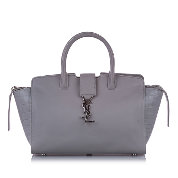 Gray YSL Downtown Cabas Leather Satchel Bag
