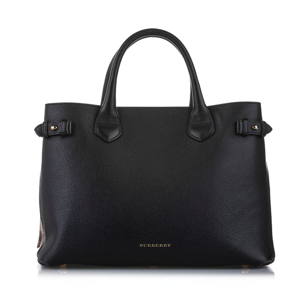 Black Burberry Banner Leather Satchel Bag