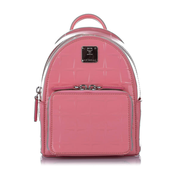 Pink MCM Patent Leather Backpack Bag