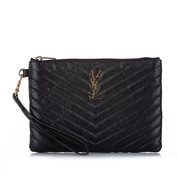Black YSL Monogram A5 Leather Clutch Bag