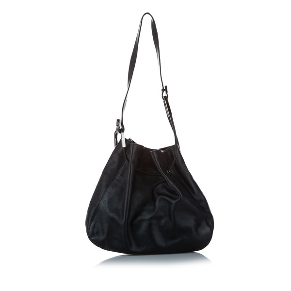 Black Gucci Leather Drawstring Shoulder Bag