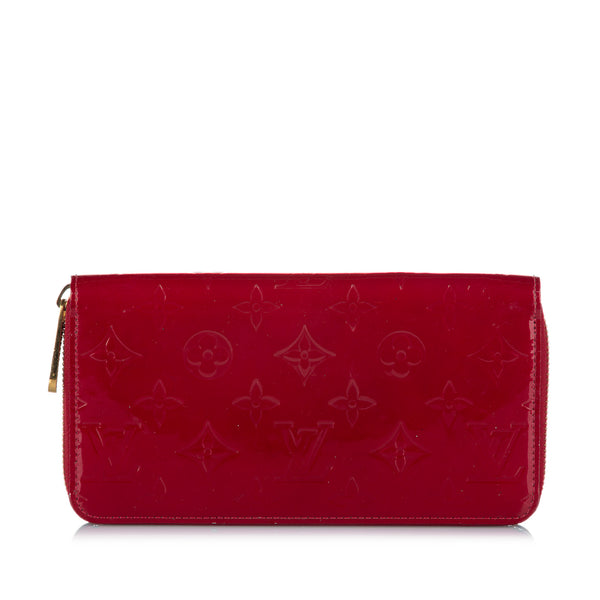 Red Louis Vuitton Vernis Zippy Long Wallet