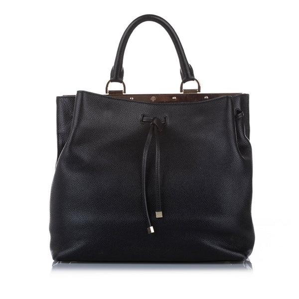 Black Mulberry Kensington Leather Satchel Bag