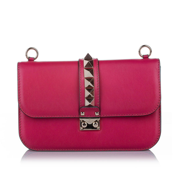 Pink Valentino Rockstud Glam Lock Leather Crossbody Bag