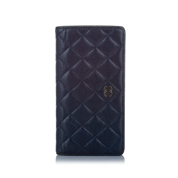 Blue Chanel CC Matelasse Caviar Leather Long Wallet