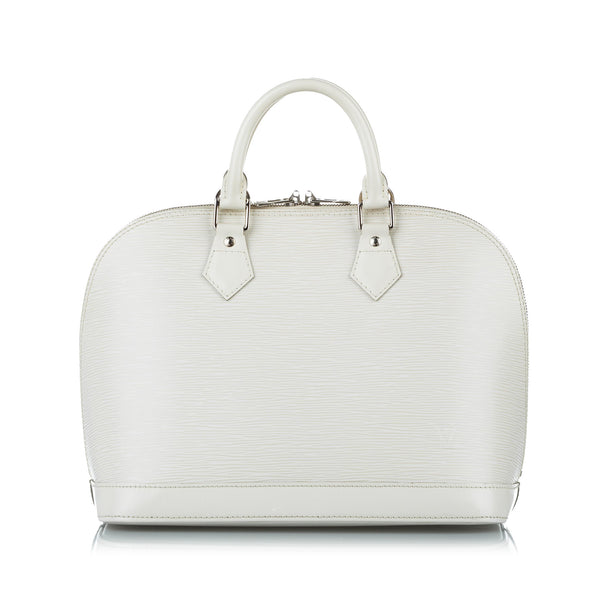 White Louis Vuitton Epi Alma PM Bag