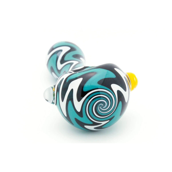 Wizard Puff Trippy Swirl Hand Spoon Pipe (Ocean Teal)
