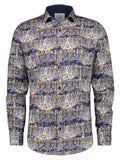 A Fish Named Fred shirt art canal houses blue 21.01.003: shirt met kanaal print