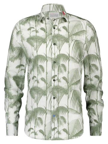 A Fish Named Fred Shirt Bamboo Green Optical White 20.02.045