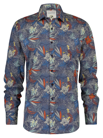 A Fish Named Fred Shirt Check Leaves Blue Multicolour 20.01.015