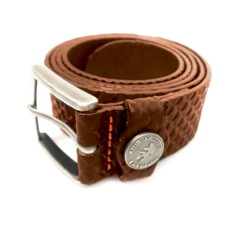 A Fish Named Fred Tan Belt Fish Pattern Cognac 9956