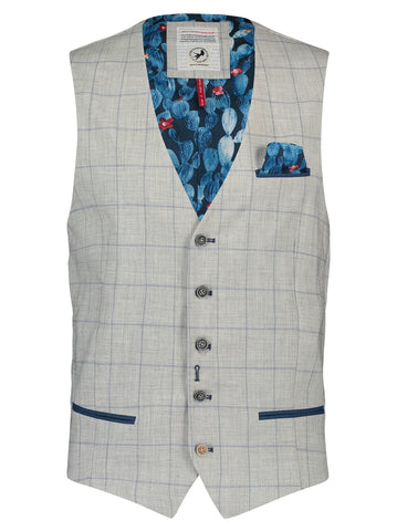 A Fish Named Fred Waistcoat Grey Windowpane Light Grey 20.01.142