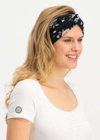 Blutsgeschwister Goodhairday Wrap Hairband Black Foxy Flower 003191203-001