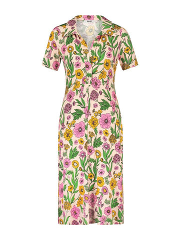 IEZ! Dress Polo Jersey Prints Pink Flowers S18 WDR 524s 200