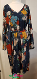 IEZ! Dress Tunic Jersey Print Dark Blue Big Flower W19 WDR 511s/303