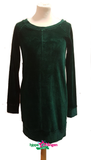 IEZ! Dress Tunic Velvet Stripe Dark Green W19 WSB 125i-400