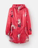 Joules Golighty Printed Waterproof Packaway Coat Raspberry Bircham Bloom Z_GOLIGHTY RSPBBLM