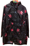 Joules Printed Waterproof Packaway Coat Black