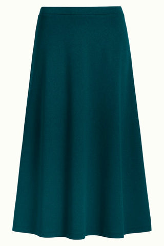 King Louie Juno skirt milano crepe pine green 05671-200: blauwe rok tot over de knie
