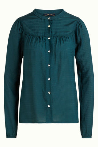 King Louie Lisa blouse beauvoir pine green 05492200: blouse met lange mouw en doorknoopsluiting