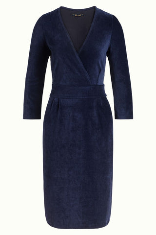 King Louie cross tulip dress rib velours blue 05549413: blauwe jurk met 3/4 mouw en een overslag decollete