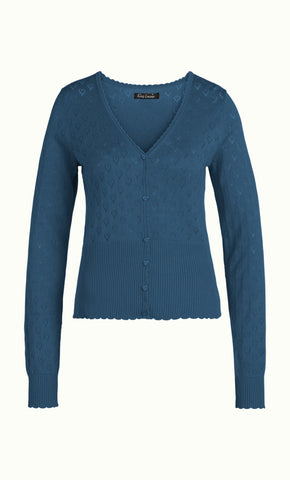 King Louie Cardi V Heart Ajour Dive Blue 00149-456