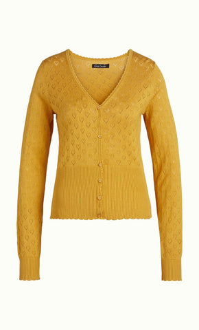 King Louie Cardi V Heart Ajour Honey Yellow 00149800