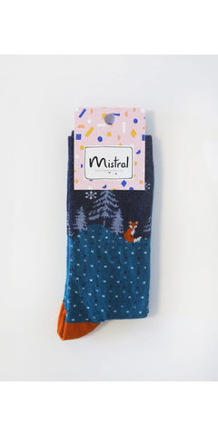 Mistral Foxes At Night Sock Teal